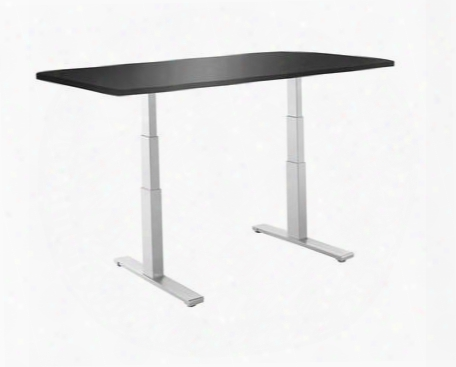 "Smartdesk A3-a13 53"" X 30"" Standing Desk With Electric Adjustable Height Grey Dual-motor Frame And Black Classic Table"