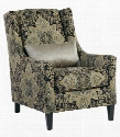 6250121 Hartigan Accent Chair with Pillow Included Loose Seat Cushion Tapered Legs and Brocade Style Fabric Upholstery in Onyx