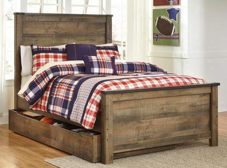 Trinell B446-87/84/86/60/b100-12 Full Size Panel Bed With Trundle Storage Metal Bracket Accents Plank Detailing And Replicated Oak Grain In