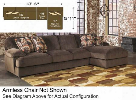 Truscotti 87103-17-46-66 3-piece Fabric Sectional Sofa With Right Arm Facing Chaise Armless Chair And Left Arm Facing Sofa In Cafe