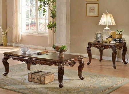 201ce 2 Pc Living Room Table Sets With Coffee Table + End Table In Rich Cherry