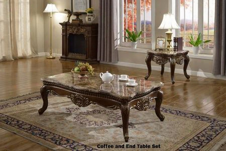 210ce 2 Pc Living Room Table Sets With Coffee Table + End Table In Dark Cherry