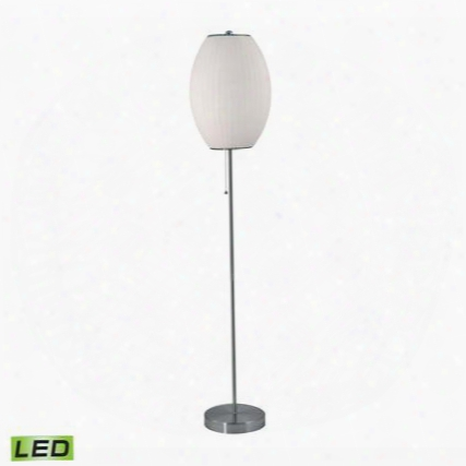 403-led Cigar Led Floor Lamp In Satin Nickel And White Satin Nickel