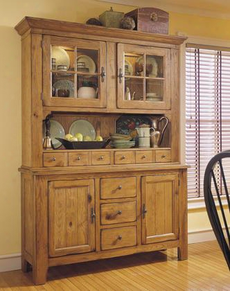 Attic Heirlooms 5397-65sv-66s China Cabinet With Hutch And Base In Natural Oak Stain