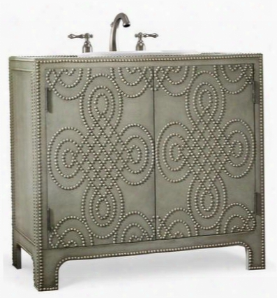 "Bridgette 1122227553659 36"" Vanity Chest With 2 Doors 1 Adjustable Shelf European Design And Nickel Nailhead Accents In Dove Grey Weathered Leather"