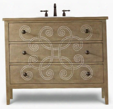"Chambers 112227554402 44"" Sink Chest With 2 Drawers Aged Pewter Hardware Tapered Legs And Seelected Aisan Hardwood Solids In Handpainted Turquoise"