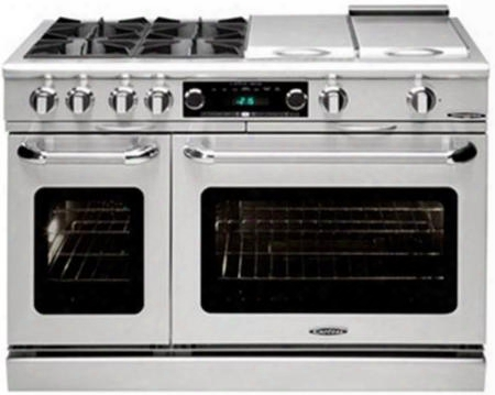 "Cob484ggn 48""c Onnoisseurian Series Star K Freestanding Duel Fuel Range Oven With 4 Open Burners 24"" Griddle Duel Oven: 5.4 And 2.2 Cu. Ft. Capacity &"