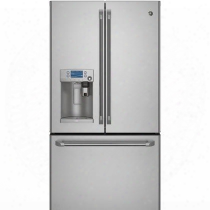 "Cye22ushss 36"" Counter-depth French Door Refrigerator With 22.2 Cu. Ft. Capacity Keurig K-cup System Water Dispenser Twinchill Evaporators Glass Shelves"