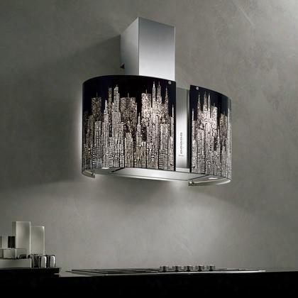 """Fmrnd34i5sgkit2 34"""" Mirabilia Collection Manhattan Island Mount Range Hood With 500 Cfm Led Lighting Perimeter Aspiration System And Aisi 304 Steel In"""