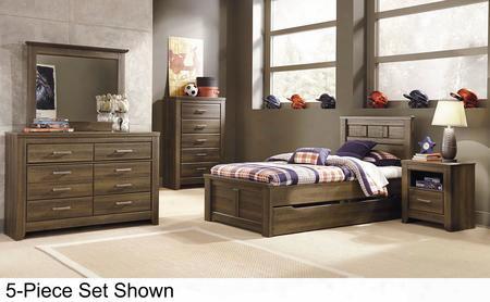 Juararo Twin Bedroom Set With Panel Storage Bed Dresser Mirror Chest And 2 Nightstands In Dark