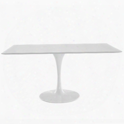 "Lippa Collection Eei-1656-whi 60"" Dining Table With Rectangular Shape Pedestal Base Scratch And Chip Resistant In Whi Te"