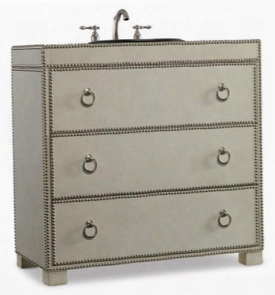 "Mackenzie 112227553663 36.5"" Hall Chest With 2 Drawers Antique Nickel Nail Head Trim And Robus Leather In Loose Creme"