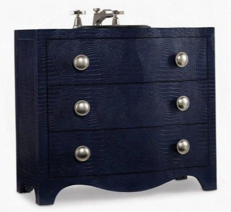 "Madans 112227553864 38"" Sink Chest With 2 Drawers Faux Croc Stakped Robus Leather Matte Platinum Hardware And Asian Hardwood Solid Materials In Midnight Blue"
