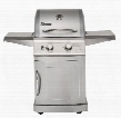 42204 Falcon Liquid Propane Gas Grills with 2 Burners 304 Stainless Steel Material Cooking Grates Fixed Casters and Folding Steel Side Shelves in Stainless