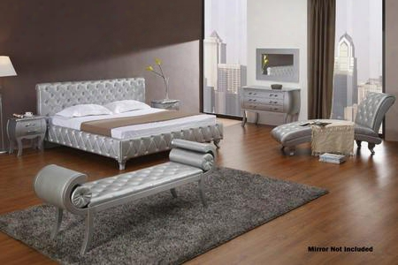 Vgkcmonteplatinumck6pc Modrest Monte Carlo 6 Pc Bedroom Set With California King Size Panel Bed + Dresser + Bench + Chaise + 2