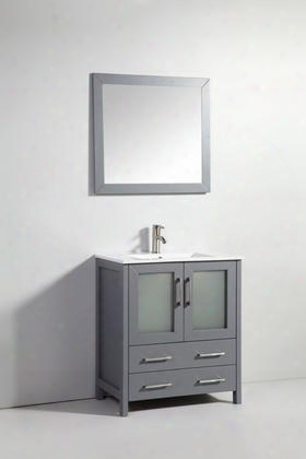 Wa7930dg 30 Solid Wood Sink Vanity With Mirror-no Faucet In Mysterious
