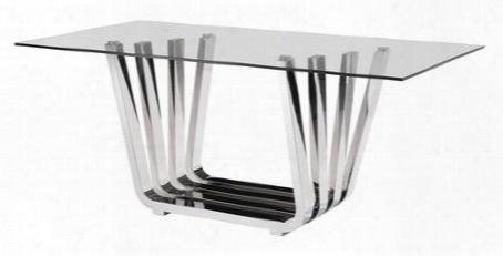 "100325 Fan 71"" Dining Table Wiht Slim Stainless Steel Layer-stem Designed Base And Rectangular Tempered Glass Top In"
