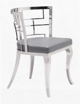 "100333 Quince 31"" Dining Chir With Stainless Steel Cabriole Legs Rounded Basket Back And Plush Seat In"