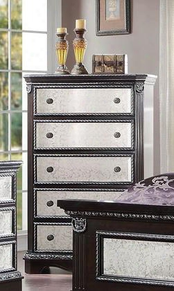"20926 Athena Silver 59"" Chest With 5 Mirror Insert Drawers Bronze Metal Hardware And Pine Wood Construction In Espresso"