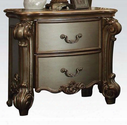 23003 Vendome Nightstand With 2 Drawers Decorative Accents Traditional Hardware And Elaborate Wood Carving Details In Gold Patina