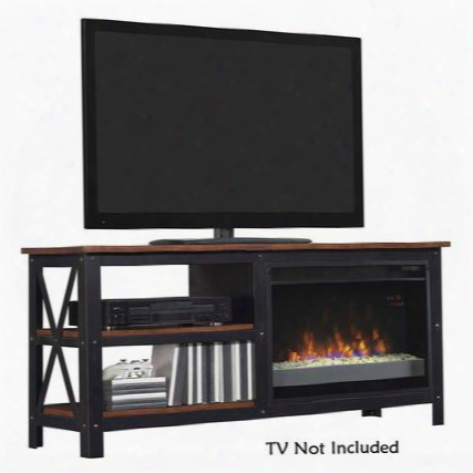 26mm8552-c296 Grainger Electric Fireplace Entertainment Center Open Side Storage Metal Frame And Multi-functional Remote Control In Old World Brown