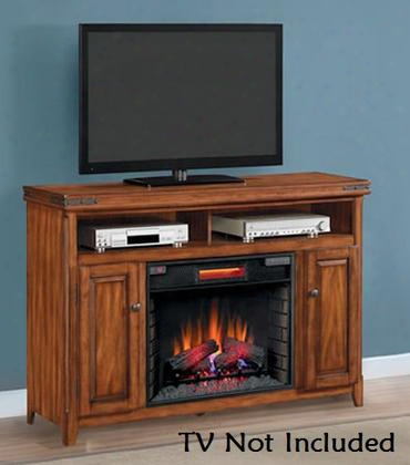 28mm9644-x332 Mayfield Electric Fireplace Media Console With Decorative Metal Trim Side Storage Cabinets And Adjustable Wood Shelves In Cherry
