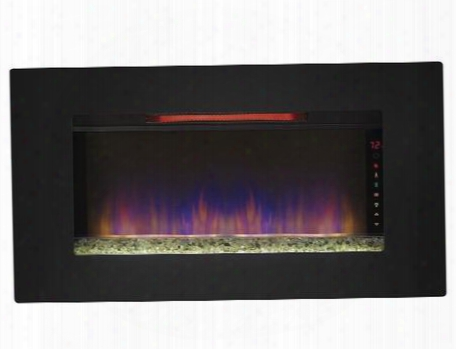 36ii100grg Elysium Wall Hanging Electric Fireplace With Infrared Quartz Heater Energy Saving Led Spectrafire Flame And Touch Screen Function In
