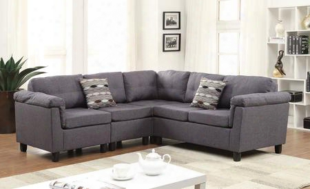 51550 Cleavon Reversible Sectional Sofa With 2 Chairs Wedge Loveseat Accent Pillows Wood Frame And Fabric Upholstery In