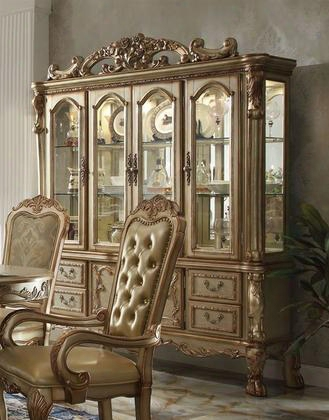 63155 Dresden China Cabinet With 4 Glass Doors 4 Drawers Glass Shelves Claw Feet And Carved Details In Gold Patina
