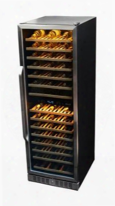 "Awr-1600db 27"" Premier Gold Series Dual Zone Wine Cooler With 160 Bottle Capacity Dual Setting Gold Led Lighting Lcd Panel Display Adjutable Wood Shelves"