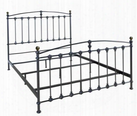 B552qdp Metal Bed With Decorative Castings Scratch Resistant Powder-coated Steel Frame And Adjustable Feet In Dark Graphite