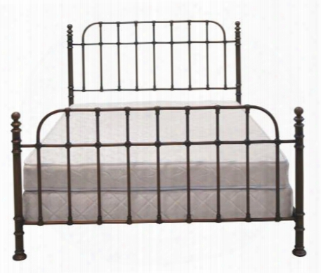 B565qdc Queen Size Metal Bed With Corner Posts Scratch Resistant Adjustable Feet And Powder-coated Metal In Dark Copper
