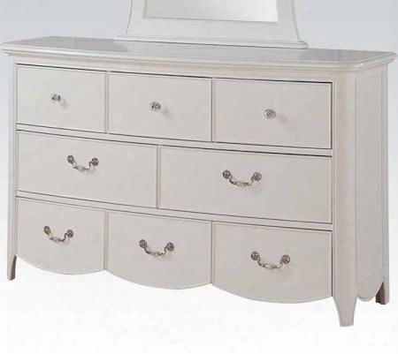 "Cecilie Collection 30325 56"" 8-drawer Dresser With Silver Metal Hardware Crystal-like Accents Felt Lined Top Drawer And Scalloped Base In"
