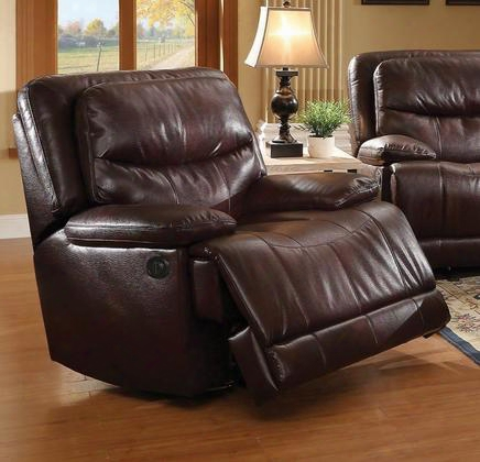 "Cerviel 52162 41"" Recliner With Piped Stitching Pillow Top Arms Leather-aire Upholstery Tight Split Back And Seat Cushion In Burgundy"