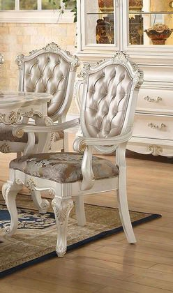 Chantelle Collection 63543 Arm Chair With Button Tufted Back Carved Cabriole Legs Rose Gold Fabric And Pu Leather Upholstery In Pearl White Finish (set Of