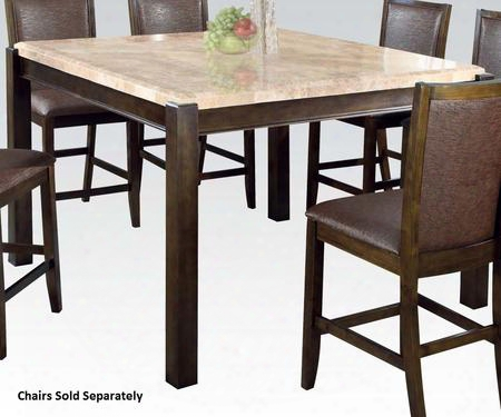 """Charissa Collection 70750 64"""" Dining Table With Aegean Brown Marble Top Thick Legs And Fossil Wood Materials In Dark Walnut"""