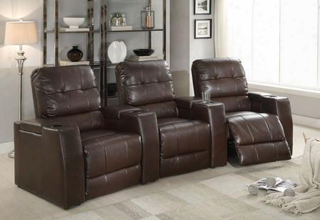 "Clico 52235 116"" Home Theatre Set With Consoles Cup Holders Tufted Seat Back Pocket Coil Seating And Bonded Leather Upholstery In Brown"