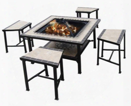 Dm-3537-st Serengeti Sunrise Fire Pit Set With 4 Stools Tile Top Table Ice Basin Steel Fire Bowl Bottoshelf And Steel Legs In Multi