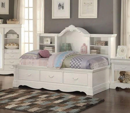 Estrella 39150 Daybed With 3 Storage Drawers Bookcase Arched Crown White Metal Handles And Pine Wood Construction In White