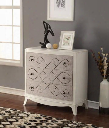 "Glejery Collection 90194 37"" Console Table With 3 Fabric Covered Drawers Nail Head Pattern Metal Knobs Curved Front And Maple Veneer Materials In Light"