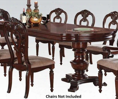 "Gwyneth Ii Collection 62860 78"" - 110"" Dining Table With 2 16"" Extendable Leaves Double Pedestal Intricate Carved Details And Solid Pine Wood Construction In"