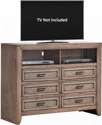 "Ireton Collection 26037 47"" Tv Console With 6 Drawers 2 Open Compartments Matte Dark Brown Metal Hardware Andd Lined Drawers In Caramel"