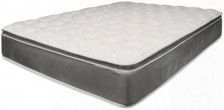 "Jade Collection 29109 14"" Eastern King Size Pillow Top Mattress With Foam Encased Internal Noise Reduction Metal Coil And Made In Usa In Grey"