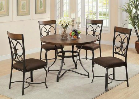 Jassi Collection 71124 5 Pc Dining Room Set With Scrolled Metal Backrest Curved Legs Dark Brown Fabric Chairman Cushion Dark Cherry Wood Insert And Metal Frame