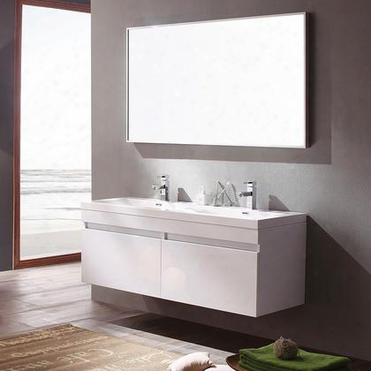 """Largo Collection Fvn8040wh 57"""" Modern Bathroom Vanity With Wavy Double Sinks Nested Drawer Storage System And Integrated Acrylic Countertop And Sink In"""