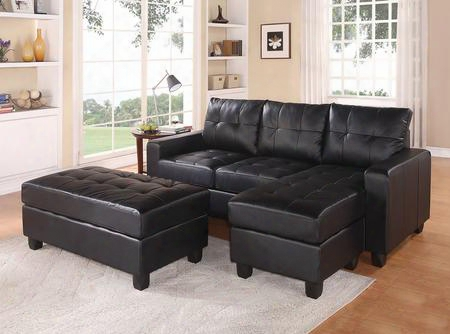 """Lyssa 51215 83"""" Reversible Sectional Sofa With Chaise Ottoman Wood Frame Loose Seat Cushion Pocket Coil Seating And Bonded Leather Match In Black"""