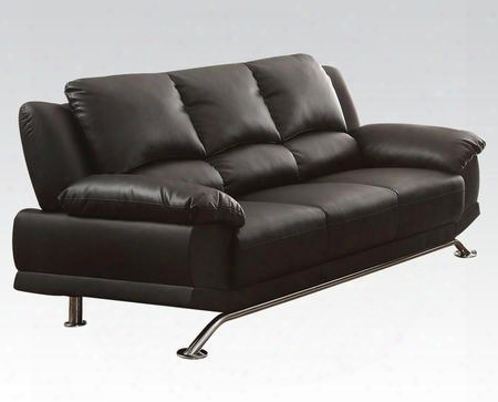 """Maigan Collection 51205 78"""" Sofa With Chrome Stainless Steel Feet Wood Frame Pocket Coil Seating And Bonded Leather Match Upholstery In Black"""