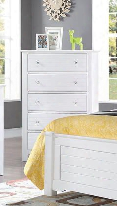 "Mallowsea 30326 38"" Chest With 5 Drawers Side Metal Glide Drawer Simple Metal Pulls And Pine Wood Cons Truction In White"