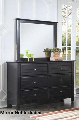 "Mallowsea 30395 58"" Dresser With 6 Drawers Side Metal Glide Drawer Simple Metal Pulls And Pine Wood Construction In Black"