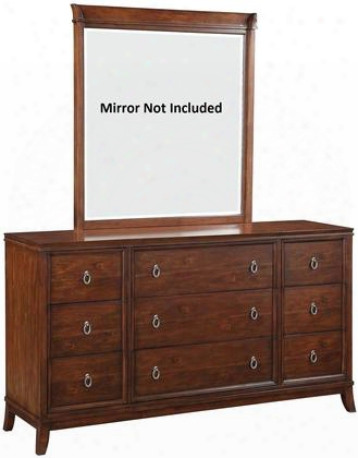 "Midway 20986 66"" Dresser With 9 Drawers Cabriole Legs Felt Lined Top Drawer And Side Metal Glide Drawer In Cherry"